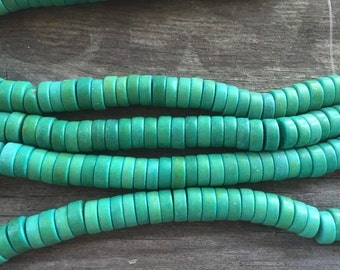 8mm MAGNESITE Beads in Turquoise Green Shades, 8mm x 3mm, Heishi Beads, 1 Strand 15in, Approx 120 Beads, Green Gemstone Beads