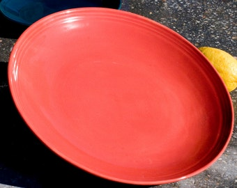 Dinner Plate, Red, Terra cotta red, Stoneware, Hand Painted, Ready To Ship