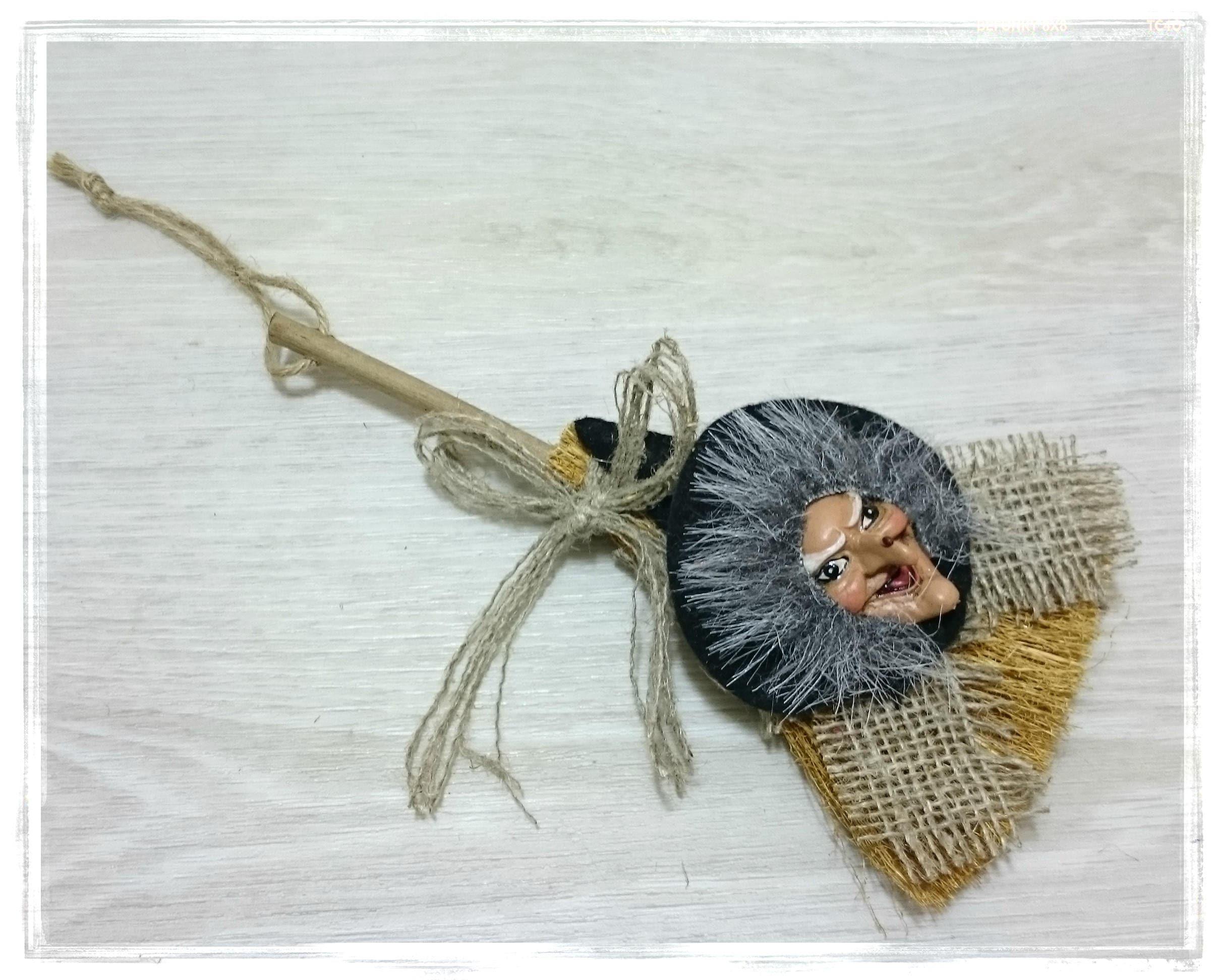 Hexe auf Besen Ornament Glück Küche Hexe Puppe handgemachte