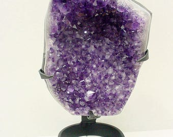 Amethyst Crystal Point Cluster Metal Sculpture, Uraguay Amethyst Art Decor Collectible 4lb+  17VR113
