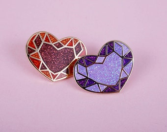 red or purple cristal heart pins