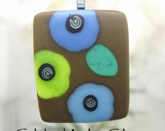 Chocolate and Flowers Fused Glass Pendant, Fused Glass Jewelry Handmade in North Carolina