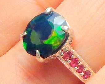 Black Welo Opal Ring, Ethiopian Opal Ring,Ruby Accents, Sterling Silver,Natural Gemstone Ring,Multi Color Opal, Engagement Ring,Promise Ring