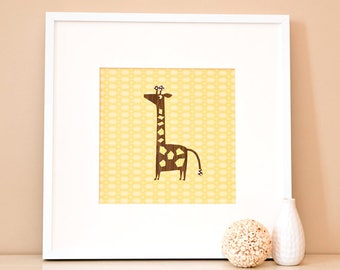 Modern Children's Paper Wall Art - Giraffe Standing Tall – 12 x 12 – Yellow and Brown