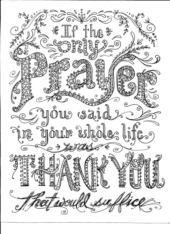 Instant download prayer coloring page
