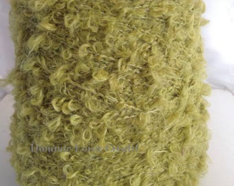 Large spool of wool Mohair ringlet green acid 500g