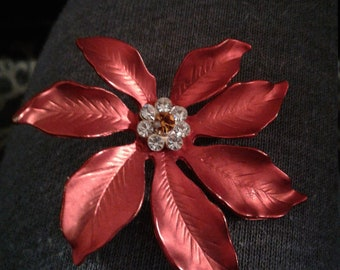 Vintage Christmas Red Poinsettia Flower Brooch, Signed AS