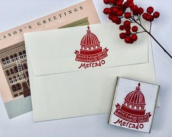 Capitol Hill Hand Carved return address stamp