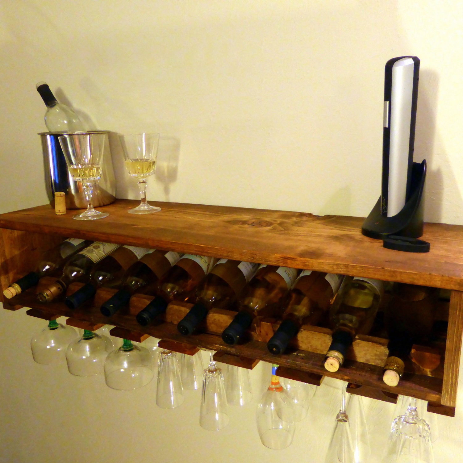 Wine Bottle Rack Glass Rack Wood Shelf Mini Bar