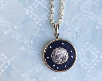 Mini Moons Full Moon and Stars hand embroidered pendant necklace celestial jewelry