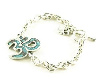 Orgone Energy Om Symbol Charm Bracelet - Chunky silver bracelet - Om Charm - Choose Your Stone/Color - Artisan Jewelry - Orgone Jewelry