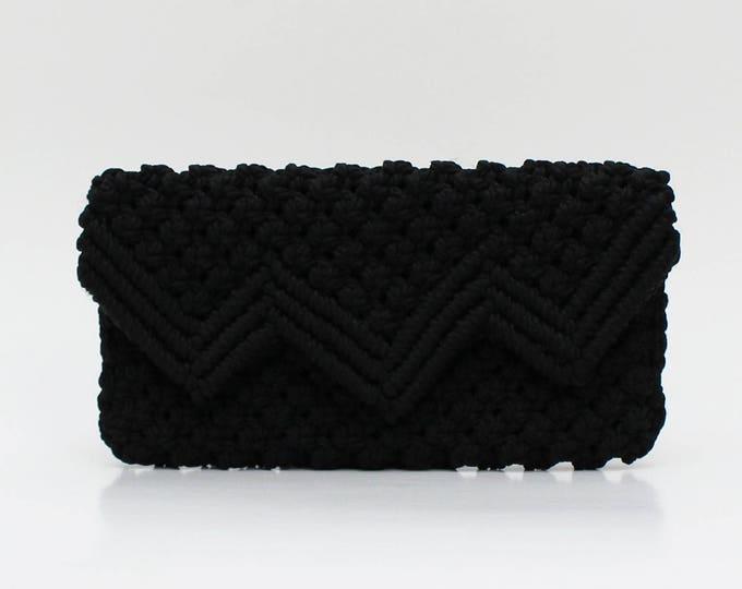 Vintage 1960s Black Macrame Clutch