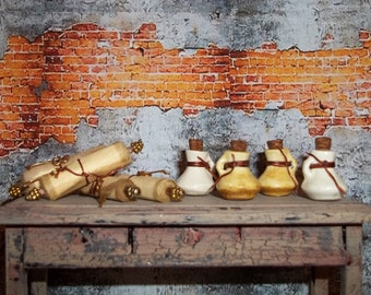 Dollhouse Miniature Ceramic Potion Jar and Scroll Set - Your Choice of Color