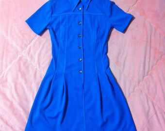 1960s Vintage Mod Dress, 60s Vintage Mod Collared Shirt Dress, 60s Vintage Blue Mod Dress, Vintage Blue Dress, Mod Dress