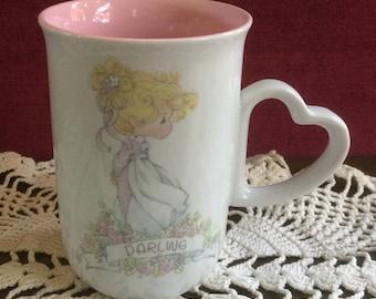 "Precious Moments ""Darling"" Mug, 1990, Vintage Mug, Coffee Mug, Cocoa Mug, Tea Mug, Children's Mug, Valentine's Mug, Love Mug, Vintage Enesco"
