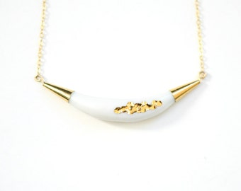 22k Gold Carved Arc Necklace - White - Porcelain Jewelry, Porcelain Necklace - wedding jewelry, Nautical, minimalist jewelry, nickel free