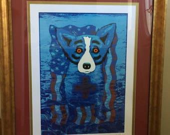 Blue Dog - George Rodrigue - We Will Rise Again - Signed Silkscreen Print