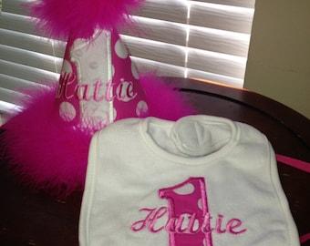 Custom Boutique Birthday hat and bib set