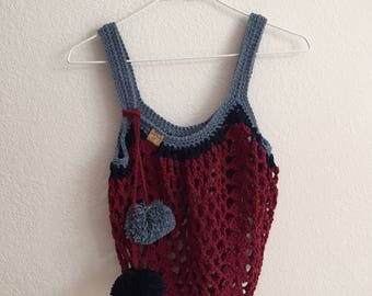Boho Market Bag~Pom Pom Crochet Tote Bag~Reusable Shopping Bag~Beach Bag~Market Tote~Crocheted Grocery Bag~navy blue~maroon~denim blue
