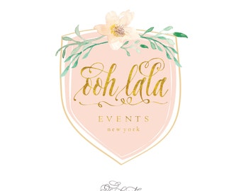 customized logo design -  watercolor & gold logo  - calligraphy logo - business logo - business card - freshmint paperie
