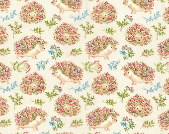 """Flower Power Hedgehogs fabric by fabric traditions, By the Half Yard, 44"""" wide, 100% cotton, novelty fabric, hedgehog fabric, animal fabric"""