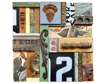 wood wall art, HUGE 24x24 mixed media assemblage, primitive bird art collage, architectural salvage, abstract sign art by Elizabeth Rosen