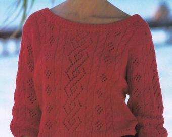 PDF Women Knit Sweater Pattern   Bust 30-38  Knitted