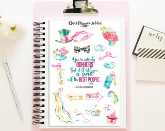 Alice in Wonderland Planner Stickers | Mystery Grab Bag Sept 2017 | Alice in Wonderland | Watercolour Stickers (MGB-SEP17)
