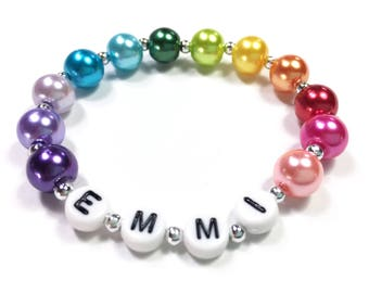 Rainbow Pearl Bracelet Personalized Rainbow Bracelet Color wheel of colors Gift for Girls Gift for an artist Rainbow Party Favor Bracelet