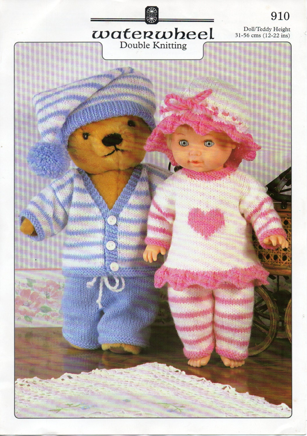 baby dolls clothes knitting pattern dolls pyjamas teddy bear