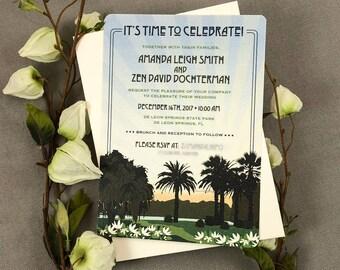 Florida Palm Trees at Sunset with Orange Blossoms 5x7 Wedding Invitation - TE1