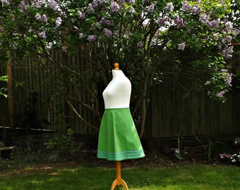 Cotton Skirt, Knee Length Skirt, Floral Skirt, Embroidered, 50s Style Skirt, Skirt, 50s Skirt, Cotton, Blue Flowers, 50s, Green Cotton,