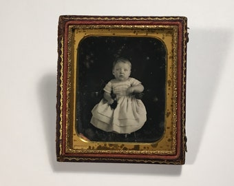 Daguerreotype of a Cute Little Kid by Whitney, 19th Century Antique Photo in Half Backing Case, Sixth-Plate Daguerreotype