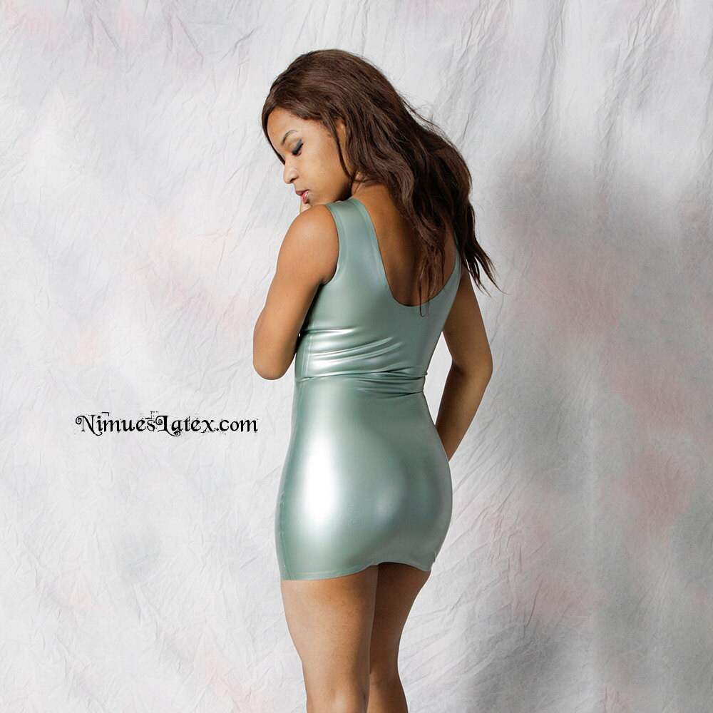 Latex Tank Dress. Short and tight with low necklinevery