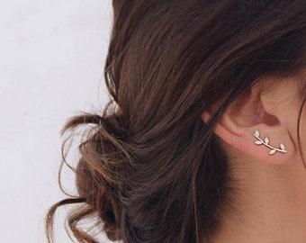Dainty Ear Climber, Leaf ear climber earrings, Gold leaf ear climber, Silver ear climbers, Cz leaves ear climber earrings, Thin ear climbers