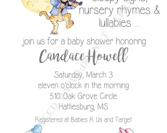 Mother goose birthday party invitations nursery rhyme party baby shower invitation mother goose personalized digital file or printed invitation double filmwisefo Images
