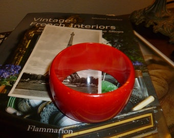 Big And Bold Red Marbled Bakelite Bangle 1950's