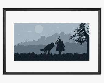 Winterfell Skyline, Winterfell print, Game of thrones, Inspired art, Winterfell poster, Winterfell artwork, Game of thrones print, Jon Snow