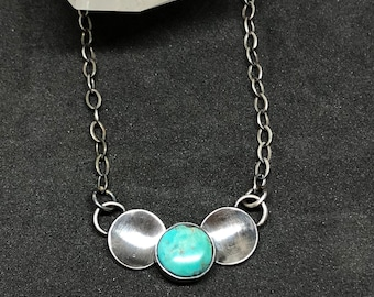 Turquoise bubble necklace , sterling silver turquoise pendant