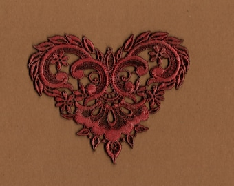 Hand Dyed Venise Lace Applique  Fancy Victorian Heart  Aged Wine