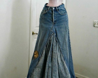 Levis  high waisted vintage ballroom jean skirt taupe flower hippie boho  Renaissance Denim Couture mermaid belle bohémienne
