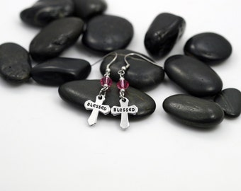 """Hand Stamped Christian """"Blessed"""" Cross Birthstone Earrings"""