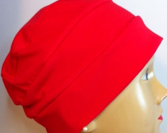 100% Cotton Adult  Red Jersey Knit Hat