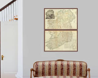 Map of Ireland | Huge Set of Old Historical Map Prints showing Ireland in 1790's - Dublin, Cork, Belfast, Donegal, Finnegan, Irish Clans IE