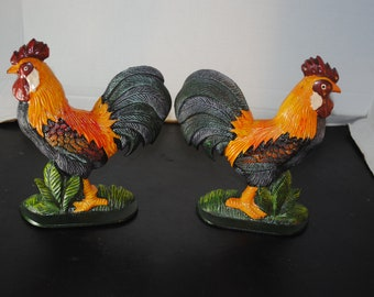 Colorful Cast Iron Large Vintage Rooster Bookends, 8 1/2 in tall, 7 1/2 in wide Farm, Animal, Home, Decor, Wall, Molded