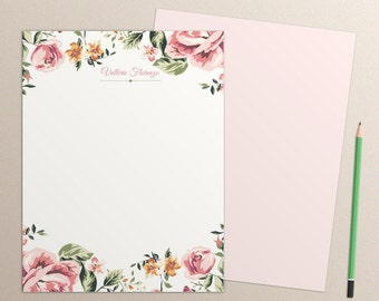 Pink Floral Frame Journal Pages, pink floral frame paper pack