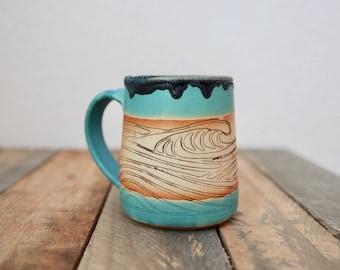 Waves mug; surf mug, slab mug, handmade, handbuilt, coffee cup, tea cup, coffee mug, pottery, ceramic