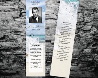 Funeral Bookmark Template |  Beach & Waves  | Memorial Bookmark Program | Printable Microsoft Word | Keepsake