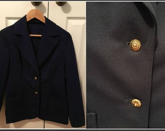 Vintage 1970s Navy Blue Blazer with Gold Buttons - Size 8