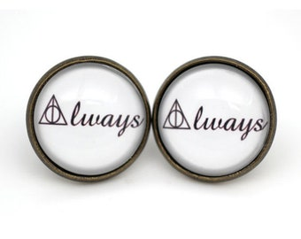 harry potter 'Always' Deathly Hallows Earrings Glass cabochon earrings